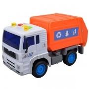 Carro Fricçao Caminhao Coleta de Lixo Laranja com Som e LUZ a Bateria DM TOYS DMT5699