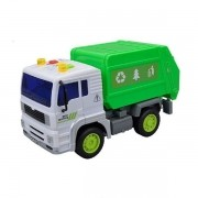 Carro Fricçao Caminhao Coleta de Lixo Verde com Som e LUZ a Bateria DM TOYS DMT5699