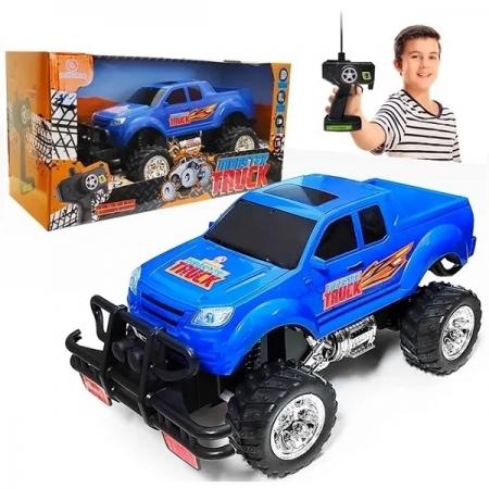 Carrinho de Controle Remoto Pickup Monster TRUCK AZUL Polibrinq 2271