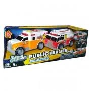Carros Ambulancia e Bombeiros com Som e LUZ SHINY TOYS 528