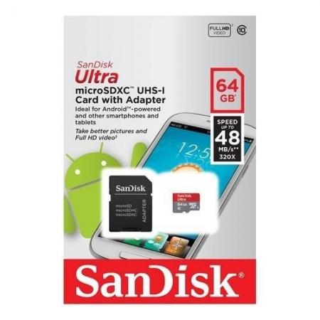 Cartao de Memoria 64GB Micro SD Sandisk CL10 SDSQUNR-064G-GN3MA