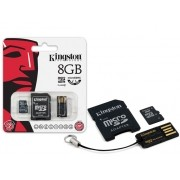 Cartao de Memoria Classe 4 Kingston MBLY4G2/8GB Multikit 8GB Micro SD + Adaptador SD + Adaptador USB