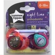 Chupeta NIGHT Time 6-18 Meses Laranja e Roxo Tommee Tippee 2 Unidades 533358