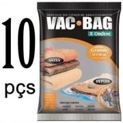 Combo: 10 Sacos a Vácuo Grande Organizador Roupa VAC BAG 55X90 Ordene