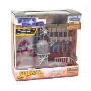 Conjunto Boneco de Metal Nano Marvel Spiderman e Playset DTC 4944