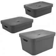 Conjunto Caixa Organizadora Cube 3 Peças Chumbo ou KTE 004
