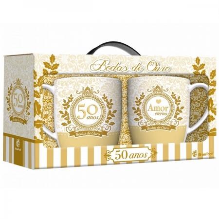 Conjunto Canecas Bodas de Ouro 2 Unidades Brasfoot 10528