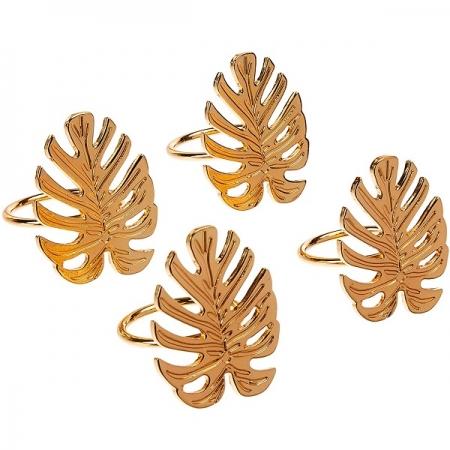 Conjunto de Aneis para Guardanapo Zamac Leaf Dourado LYOR 7632