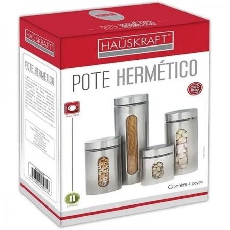 Conjunto de Potes Hermeticos com Visor 4 Peças Hauskraft POTE-071