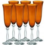Conjunto de Taças Champanhe Angela Cristal Ecologico 190ML Marrom 6 Peças Bohemia 58402