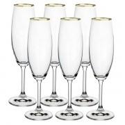 Conjunto de Taças Champanhe ANNA GOLD RIM Cristal 220ML 6 PÇS Bohemia 58499