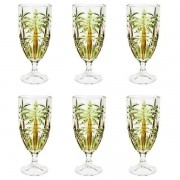 Conjunto de Taças Cristal de Chumbo PALM Tree Handpaint 450ML 6 Peças WOLFF 27441