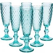 Conjunto de Tacas para Champagne 140ML Bico de Abacaxi AZUL Tiffany 6 Peças LYOR 66922