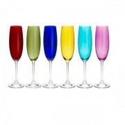 Conjunto de Taças para Champagne Colibri 220ML 6PÇS Coloridas Bohemia 35047