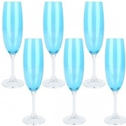 Conjunto de Taças para Champagne de Cristal Ecologico KLARA/SYLVIA Turquesa 220ML 6 Peças Bohemia 65579