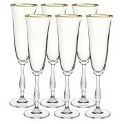 Conjunto de Taças para Champanhe Fregata GOLD Cristal 190ML Bohemia 58497