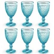 Conjunto de Taças para Vinho 6 Peças Verre AZUL Tiffany Mimo STYLE TC19086 6481