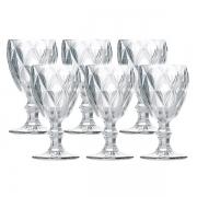 Conjunto de Taças para Vinho SODO-CALCICO 210ML Diamond Transparente 6 Peças LYOR 6472