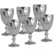 Conjunto de Taças para Vinho SODO-CALCICO 325ML Diamond Cinza Metalizado 6 Peças LYOR 7626