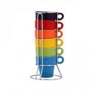 Conjunto de Xicaras de Cafe em Porcelana 60ML 6PÇS Colorido C/ Suporte BON Gourmet 30367