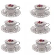 Conjunto de Xicaras MON Cheri para Cafe em Porcelana 80ML L Hermitage 24106