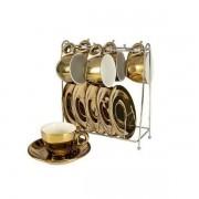 Conjunto de Xicaras para Cafe Chrominno em NEW Bone China 80ML Ouro e Branco com RACK Lhermitage 24540