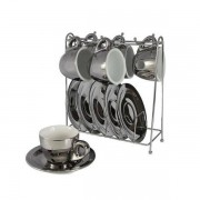 Conjunto de Xicaras para Cafe Chrominno em NEW Bone China 80ML Prata e Branco com RACK Lhermitage 24542