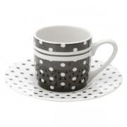 Conjunto de Xicaras para Cafe Porcelana BLACK DOTS 90ML LYOR 8327