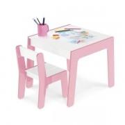 Conjunto Mesa e Cadeira Infantil de Madeira Didatica Junges Rosa 990