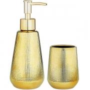Conjunto para Banheiro Dourado em Ceramica MART 10544