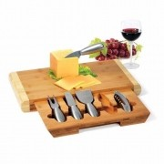 Conjunto para Queijo e Vinho 5 Peças INOX com Base em Bambu WELF PD-00863