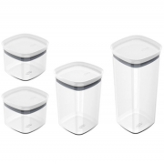 Conjunto Potes Hermeticos 4 Peças Branco Fechado ou KTE 047