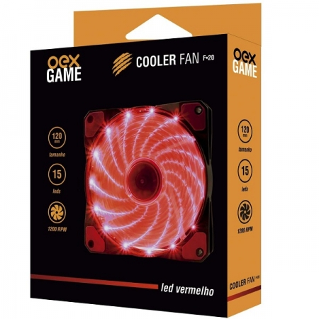 Cooler FAN 120MM Vermelho 15 LEDS OEX F20