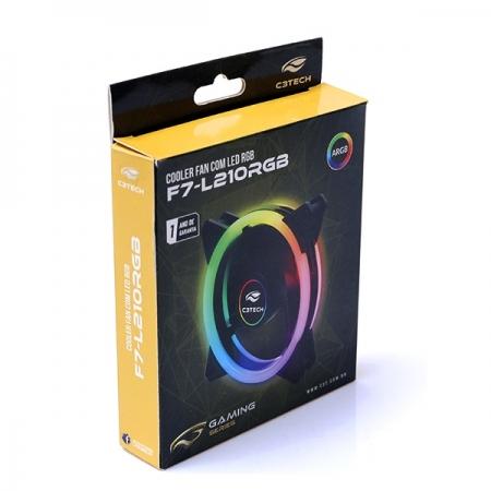 Cooler FAN F7-L210RGB 12CM com ANEL Duplo ARGB C3 TECH