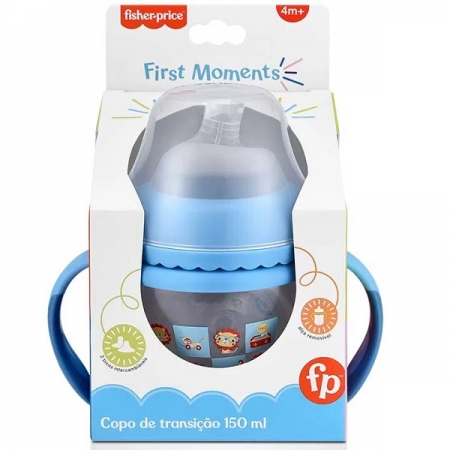 Copo de Transiçao Fisher Price FIRST Moments 150ML AZUL Multikids BB1055