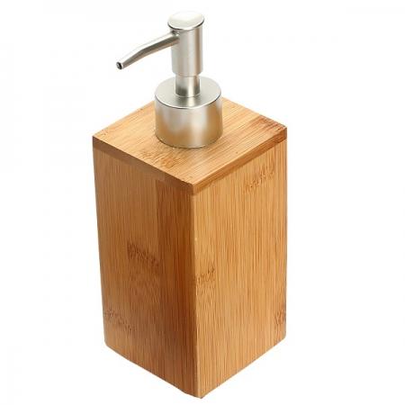Dispenser para Sabonete Liquido Bambu 7X7X19,5CM Yoi