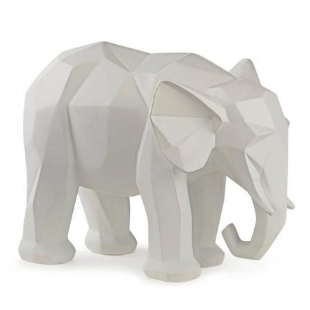 Escultura Elefante Poliresina Branco MART 13265