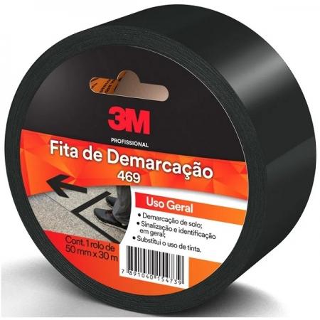Fita para Demarcaçao de Solo Preta 50MM X 30M 469 3M