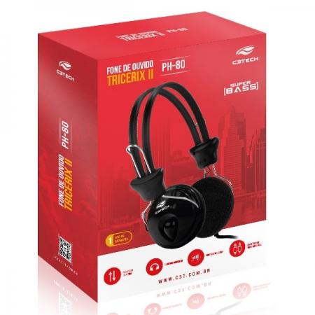 Fone com Microfone Tricerix PH-80BK C3 TECH