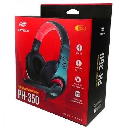 Fone com Microfone USB PH-350BK Preto C3 TECH