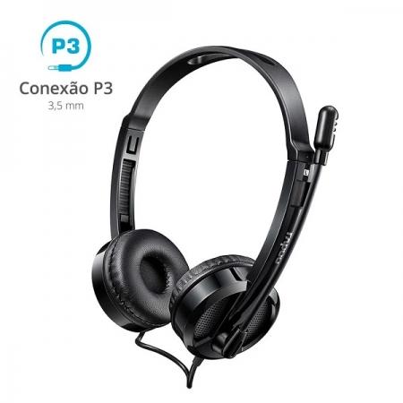 Fone Headset Conexao P3 3.5MM Preto H100 RA019 Rapoo