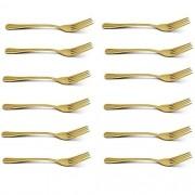 Kit com 12 Garfos de Mesa Elite Ouro Gourmet MIX GX6027