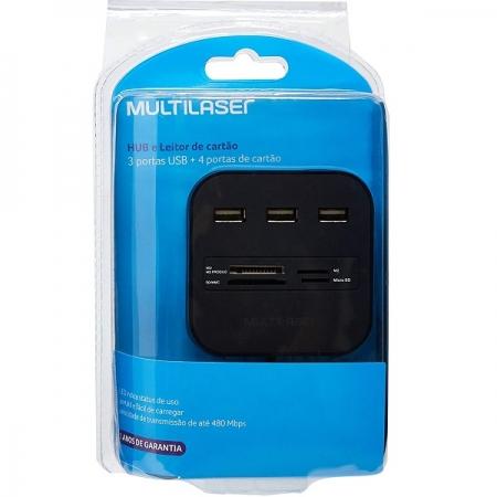 Hub USB 3 Portas + Leitor de Cartao Universal 2.0 Multilaser AC121