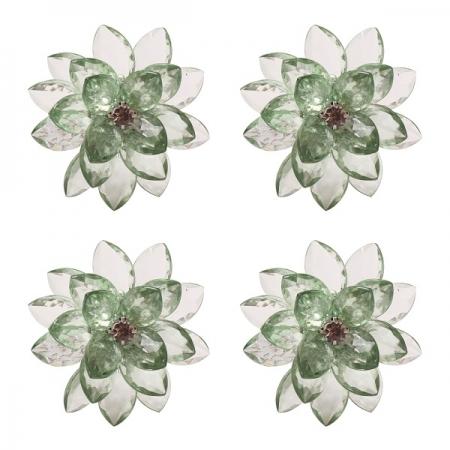 Jogo de Aneis Lotus para Guardanapo em Plastico Verde 4 Peças L Hermitage 26782