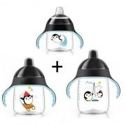Kit 3 Copos Pinguim 200/260/340ML Philips AVENT Preto