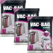 Kit 3 Sacos a Vacuo VAC BAG Ordene HANG BAG C/ Gancho 70X120 Ordene