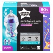 Kit com 2 Mamadeiras Advanced ANTI Colic AZUL 260ML Tommee Tippee 522819