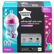 Kit com 2 Mamadeiras Advanced ANTI Colic Rosa 260ML Tommee Tippee 522818