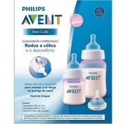 Kit com 2 Mamadeiras ANTI-COLIC Classica Rosa 125/260ML Philips AVENTS SCD809/36
