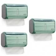 Kit com 3 Dispenser Toalheiro URBAN Compacta GLASS Verde Premisse C19821